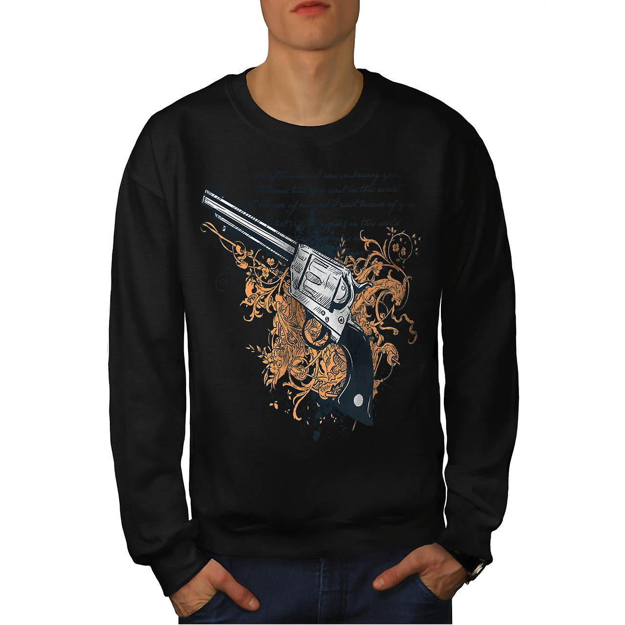 Deadly Weapon Pistol Gun Battle Men Black Sweatshirt | Wellcoda