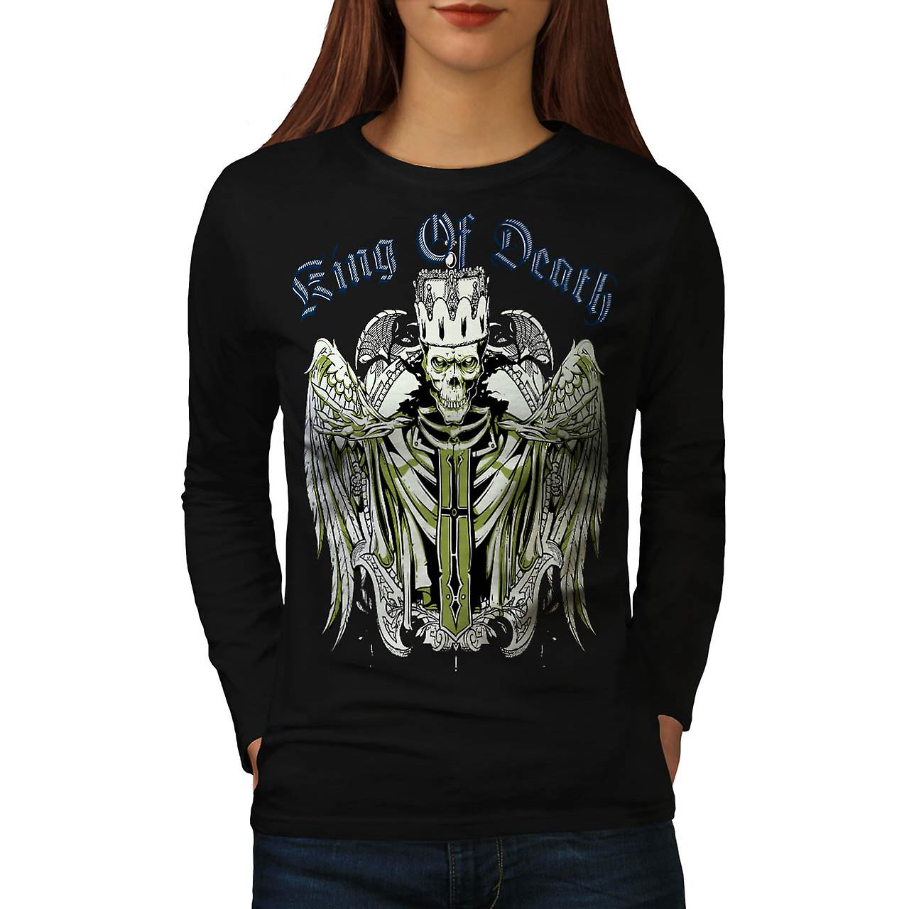 King Of Death Devil Skull Women Black Long Sleeve T-shirt | Wellcoda