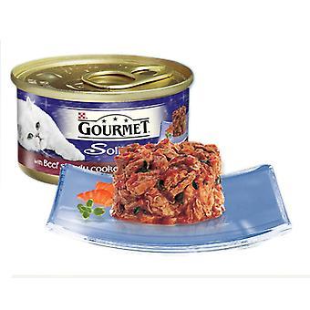 Gourmet Solitaire kan med oksekød i tomatsauce 85g (pakke med 12)