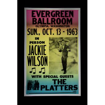 Evergreen Ballroom with Jackie Wilson retro concert poster