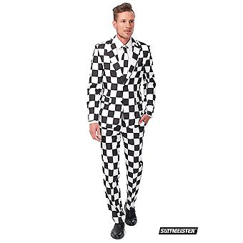 Plaid pattern black white Suitmeister slimline economy 3-piece suit