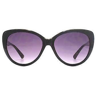 French Connection Cateye Sunglasses In Shiny Black On Tortoiseshell