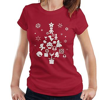 Super Mario Bros Christmas Tree Silhouette White Women's T-Shirt