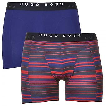 HUGO BOSS Cotton Stretch 2-Pack Cyclist Boxer Brief, Navy / Red Stripe, Medium