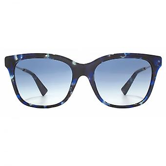 Valentino Metal Temple Square Sunglasses In Blue Havana