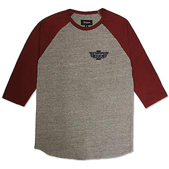 Brixton Cylinder T-Shirt Heather Grey Burgundy