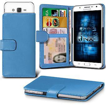ONX3 Samsung Galaxy J7 skórzane Universal Spring zacisk etui portfel z uchwyt gniazdo karty i banknoty kieszeń Light Blue