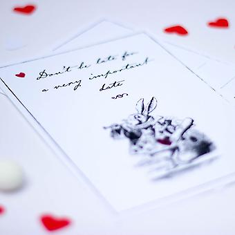 Alice in Wonderland Invites Black and White with Red Heart and envelopes set of 6