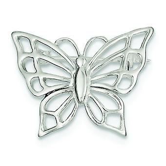 Sterling Silver Solid Polished Textured back Butterfly Pin - 3.5 Grams