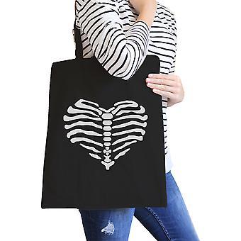 Corazón esqueleto lona bolso bolso negro Halloween lindo