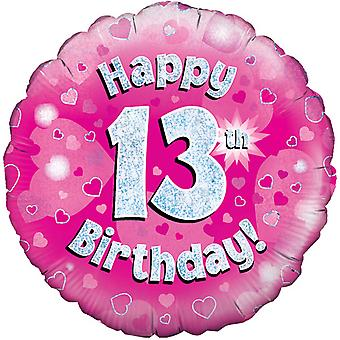 Oaktree 18 Inch Happy 13th Birthday Pink Holographic Balloon