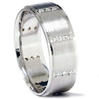 3 / 8ct Mens 14k oro bianco diamante anello di nozze Band