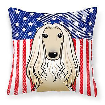 Amerikanische Flagge und Afghanischer Windhund Stoff dekorative Kissen