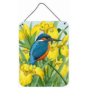 Kingfisher in Yellow Irises Wall or Door Hanging Prints