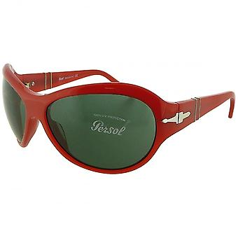 Persol Persol Ladies Red Oversized Wraparound Sunglasses With Green Tinted Lenses