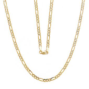 10k Yellow Gold Figaro Chain Necklace with Concave Look, 0.19 Inch (4.7mm)