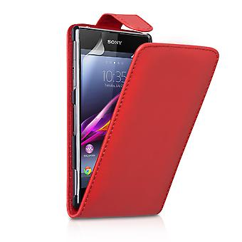 Sony Xperia Z1 Compact cuir effet Flip Case - rouge