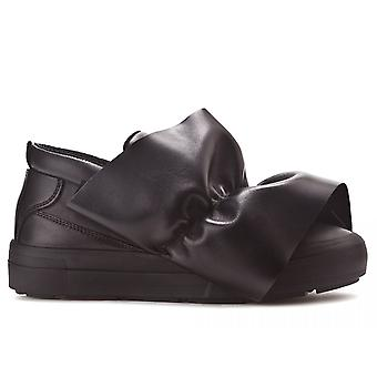 Msgm women's 2141MDS05X001 black leather slip on sneakers