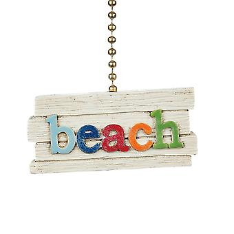Beach Letters Slatted Look Decorative Ceiling Fan Light Dimensional Pull