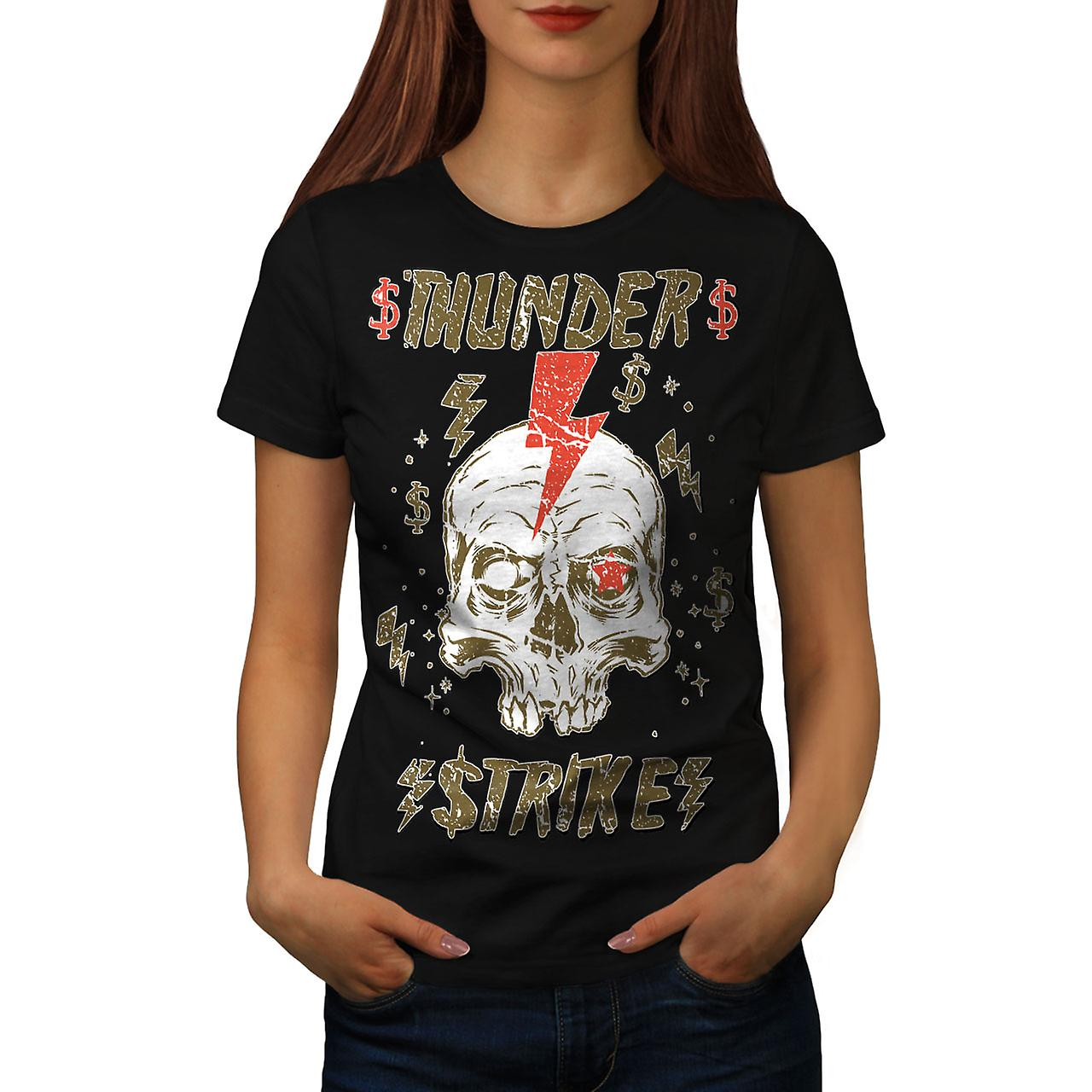 Thunder Strike Dead Skull Women Black T-shirt | Wellcoda