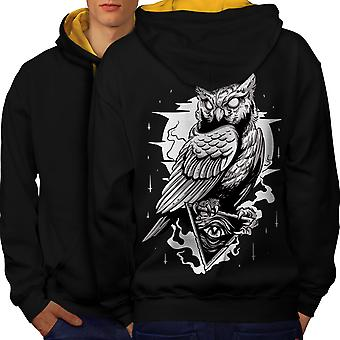 Triangle Owl Men Black (Gold Hood)Contrast Hoodie Back | Wellcoda