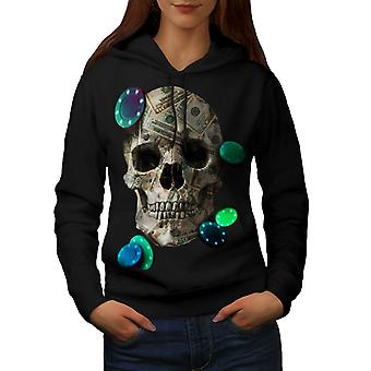 Skull Money Poker Women BlackHoodie | Wellcoda
