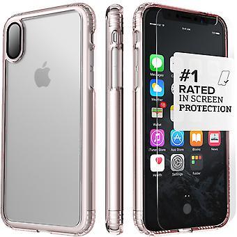 SaharaCase iPhone X caja de oro rosa, paquete de Kit de protección claro con ZeroDamage de cristal templado
