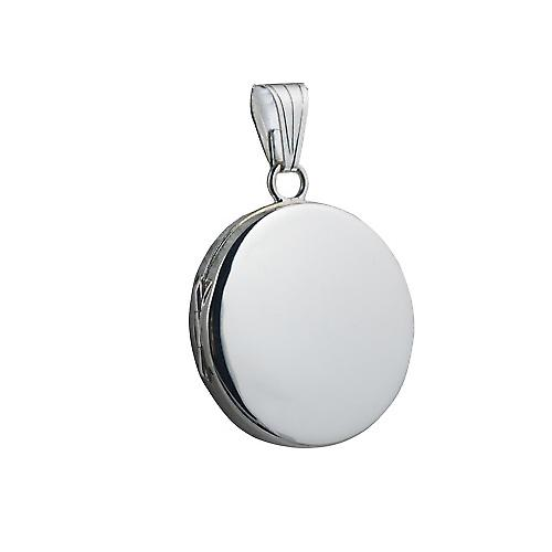 Silver 23mm plain flat round Locket