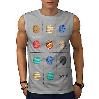 Planeten Geek kosmiska män GreySleeveless T-shirt | Wellcoda