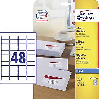 Avery-Zweckform J4791-25 Labels (A4) 45.7 x 21.2 mm Paper White 1200 pc(s) Permanent Address labels, All-purpose labels