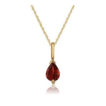 9ct Yellow Gold 0.75ct Garnet Single Stone Classic Pear Pendant on Chain