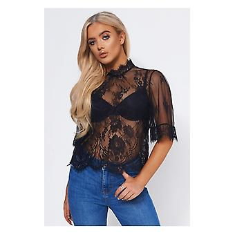 The Fashion Bible Black Lace Sheer Blouse