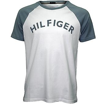 Tommy Hilfiger Logo Crew-Neck Organic Cotton Raglan T-Shirt, White/indigo