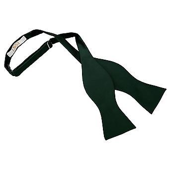 Dark Green Solid Check Self-Tie Bow Tie