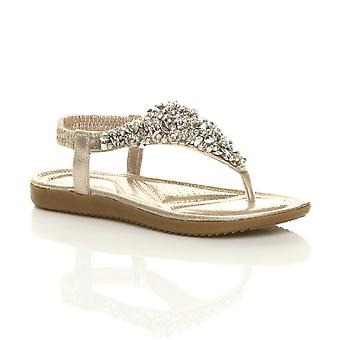 Ajvani womens flat low heel wedge slingback comfort t-bar diamante sandals