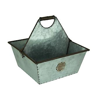 Rustic Galvanized Metal Square Divided Planter