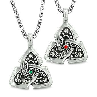 Ancient Viking Celtic Triquetra Knot Amulets Love Couples or Best Friends Set Green Red Necklaces
