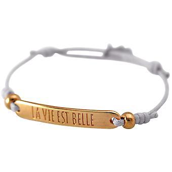Gemshine - Damen - Armband - Gravur - LA VIE EST BELLE - Rose Vergoldet - Hellgrau