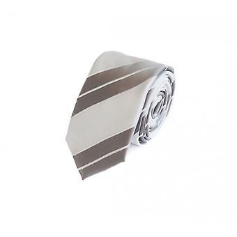 Tie stropdas stropdas tie 6cm zilver wit grijs gestreept Fabio Farini