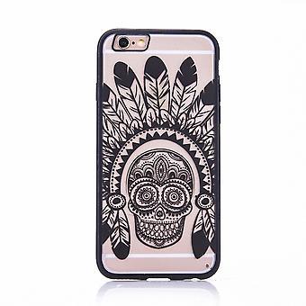 Handy Hülle Mandala für Apple iPhone 7 Design Case Schutzhülle Motiv Federn Totenkopf Cover Tasche Bumper Schwarz