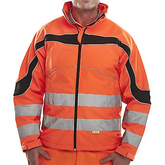 B-Seen Eton Soft Shell Hi Vis Jacket Windproof & Water Resistant. Orange - Et41
