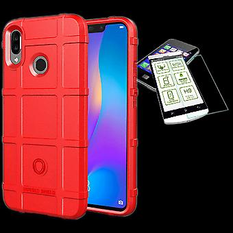 For Huawei P20 Lite shield case TPU silicone red + 0.26 mm 2.5 d H9 tempered glass bag case cover sleeve
