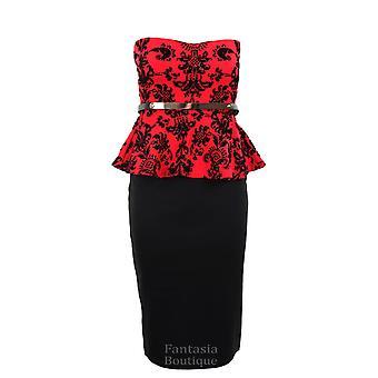 Ny kvinners Peplum Party Flock barokk Boobtube damer kjole rød, svart, blå