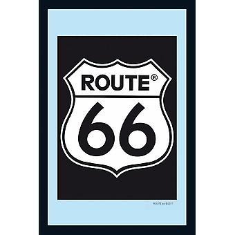 Route 66 Spiegel Classic Logo  Wandspiegel mit schwarzer Kunststoffrahmung in Holzoptik.