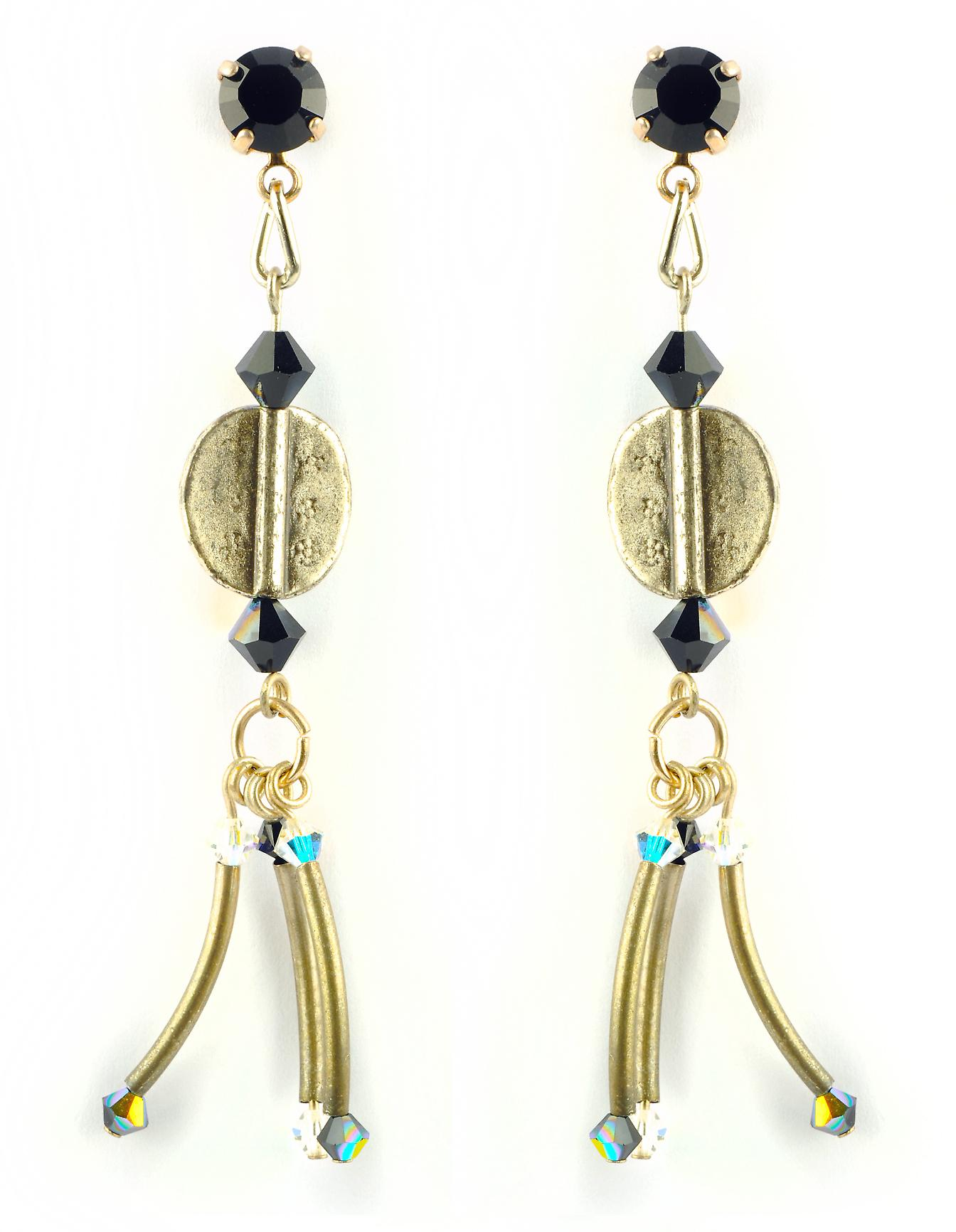 Waooh - jewelry - WJ0698 - earrings with Rhinestone Swarovski black blue - silver Elements