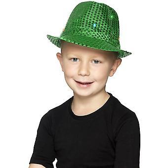 Oplichten Sequin Trilby hoed, groene, met multifunctionele LED verlichting
