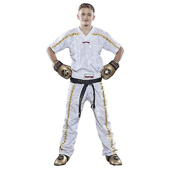 Top tien mesh Kickboxing broek wit/goud