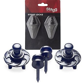 Stagg SSL1 Strap Buttons mit Schließsystem - schwarz