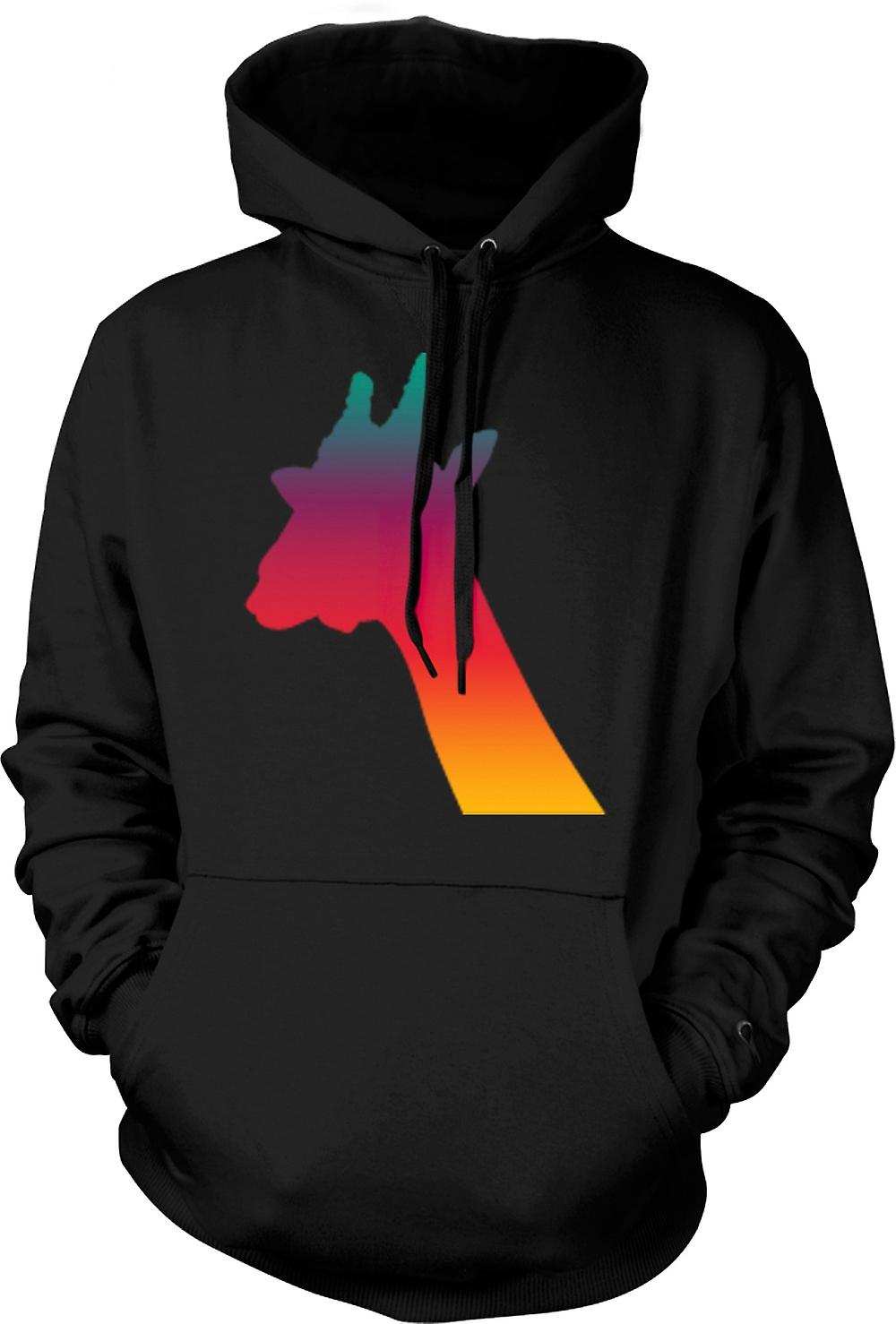 Mens Hoodie - Rainbow Giraffe Psychedelic Design