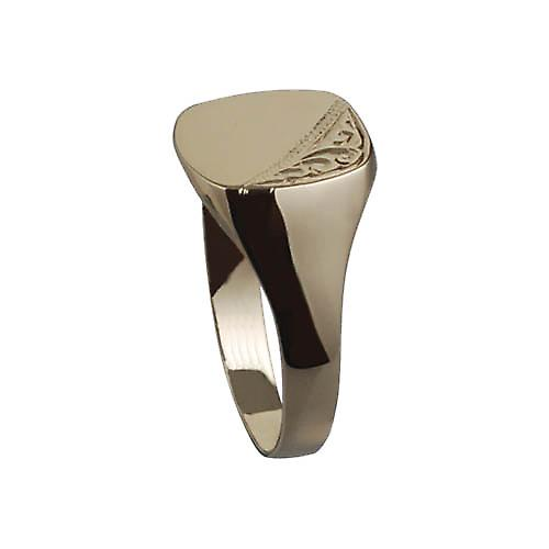 9ct Gold 14x12mm gents engraved TV shaped Signet Ring Size Z